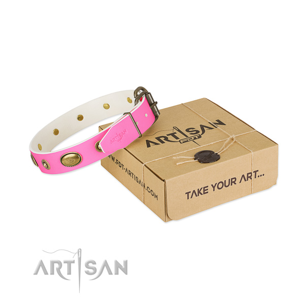 Perfect fit leather collar for your handsome doggie
