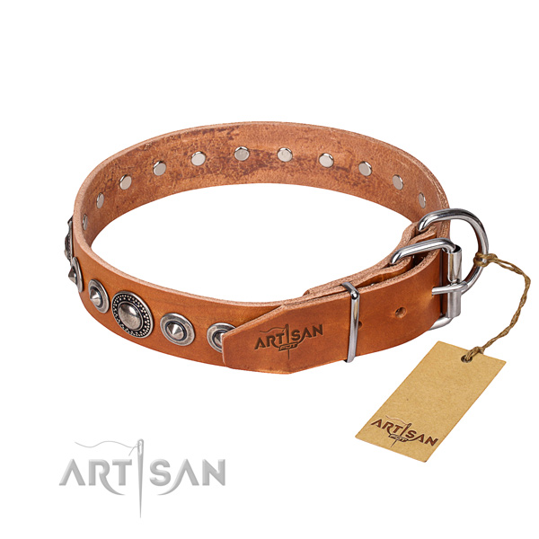 Natural genuine leather dog collar made of gentle to touch material with rust resistant adornments