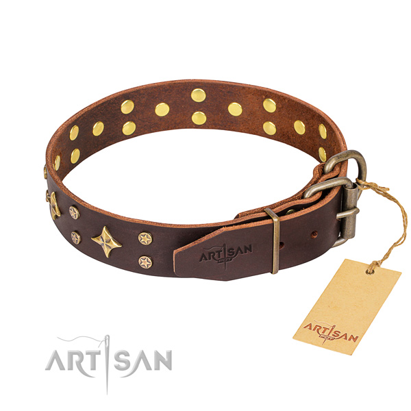 Comfy wearing decorated dog collar of durable genuine leather
