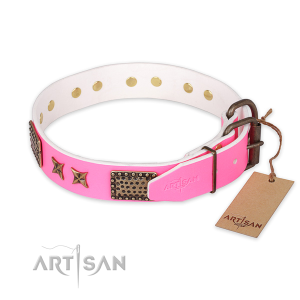 Rust resistant D-ring on full grain leather collar for your attractive four-legged friend