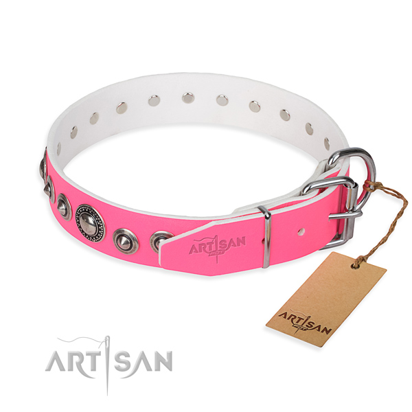Natural genuine leather dog collar made of soft material with reliable studs