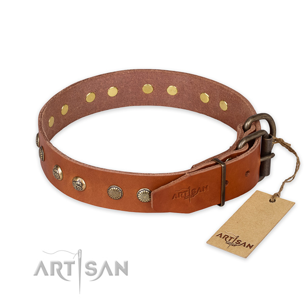 Reliable D-ring on natural genuine leather collar for your impressive dog