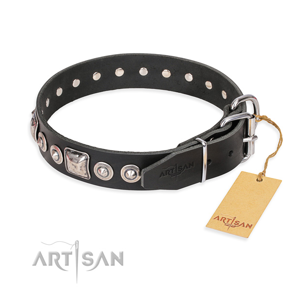 Natural genuine leather dog collar made of top notch material with corrosion resistant embellishments