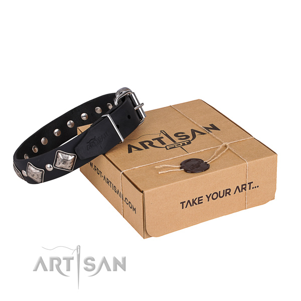 Daily use dog collar of strong genuine leather with adornments