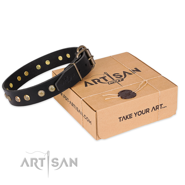 Durable hardware on genuine leather collar for your stylish doggie