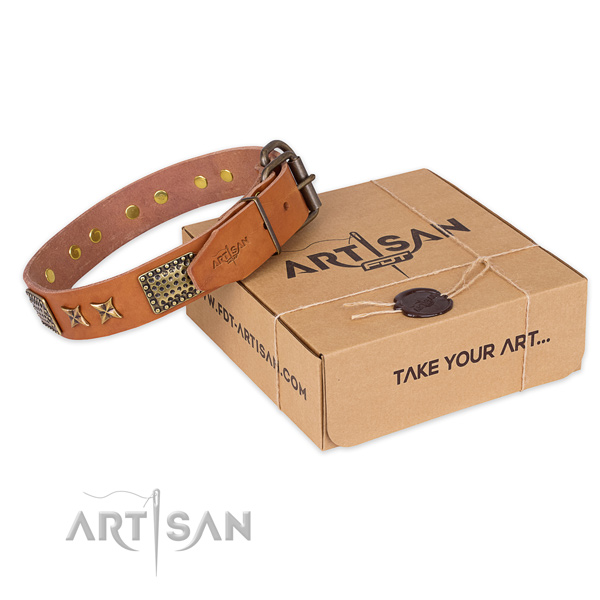 Corrosion proof hardware on full grain genuine leather collar for your stylish four-legged friend