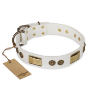 """Golden Avalanche"" FDT Artisan White Leather Amstaff Collar with Old Bronze Look Plates and Circles"