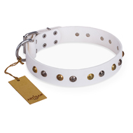 """Snowflake"" FDT Artisan White Leather Amstaff Collar with Decorations"