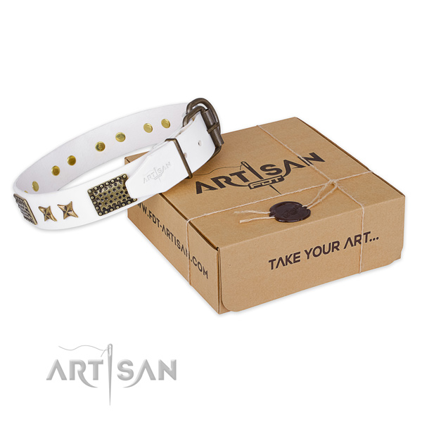 Rust-proof buckle on full grain natural leather collar for your handsome pet
