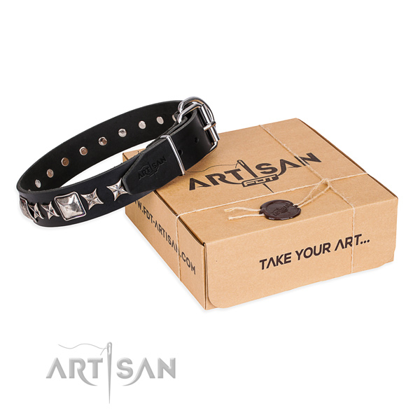 Comfy wearing dog collar of fine quality genuine leather with embellishments