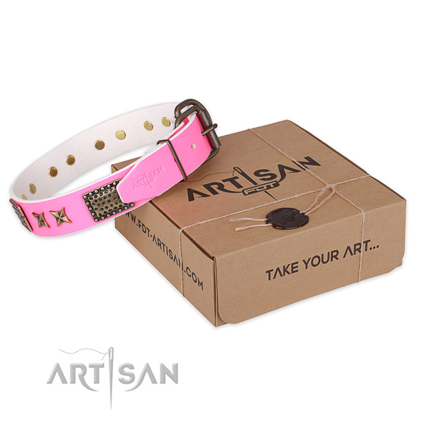 Strong buckle on full grain genuine leather collar for your stylish pet
