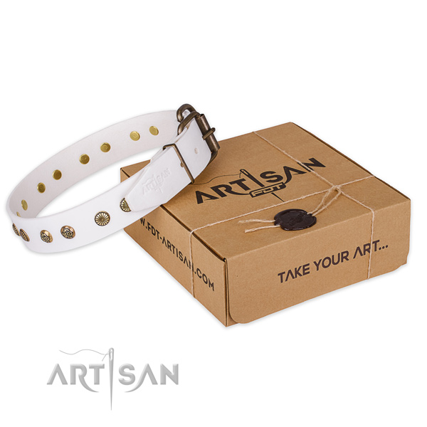 Durable fittings on full grain leather collar for your impressive four-legged friend