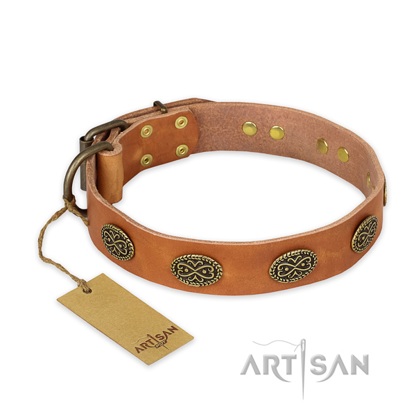 Designer full grain natural leather dog collar with corrosion resistant D-ring