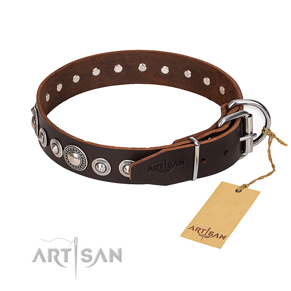 Genuine leather dog collar made of high quality material with durable fittings