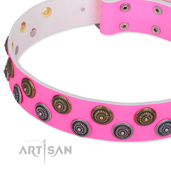 Easy wearing embellished dog collar of top quality natural leather
