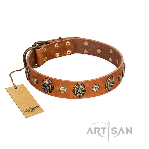 Inimitable full grain genuine leather dog collar for easy wearing