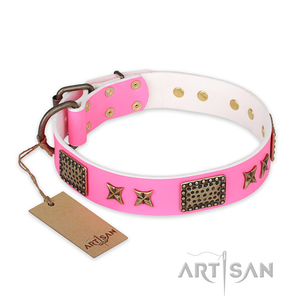 Designer genuine leather dog collar with durable traditional buckle