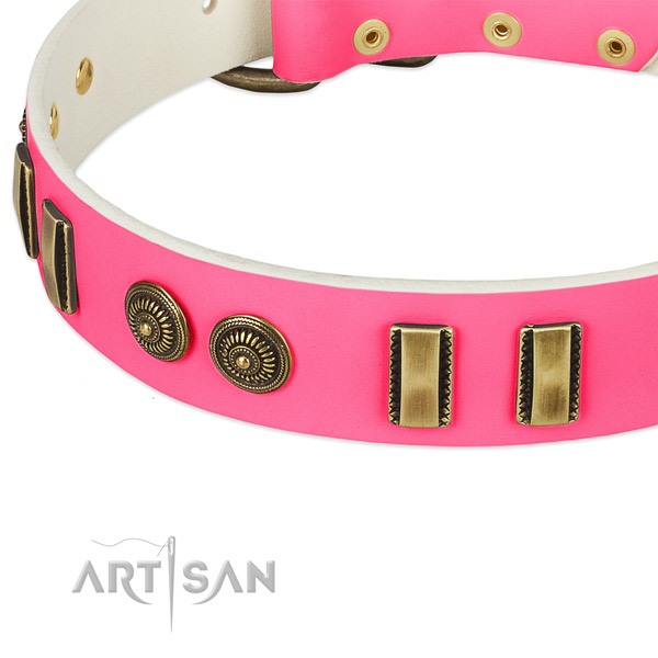 Strong decorations on full grain genuine leather dog collar for your doggie