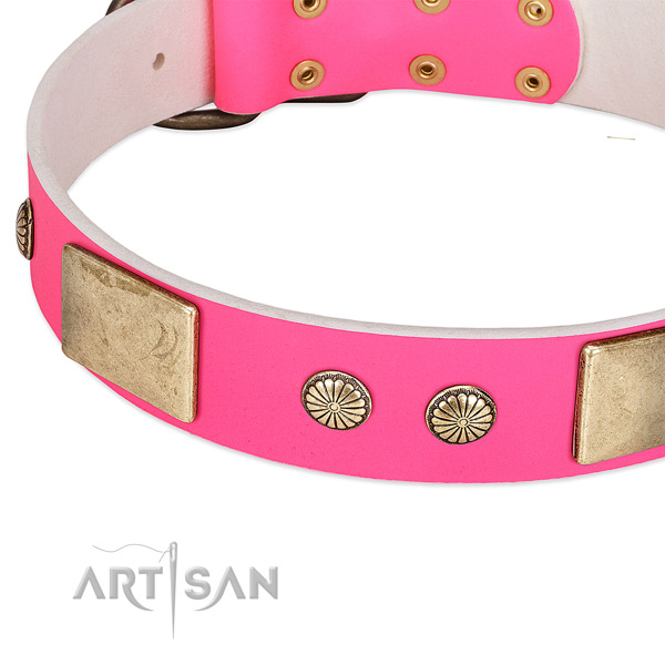 Rust-proof D-ring on genuine leather dog collar for your four-legged friend
