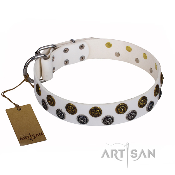Everyday use dog collar of durable full grain genuine leather with embellishments