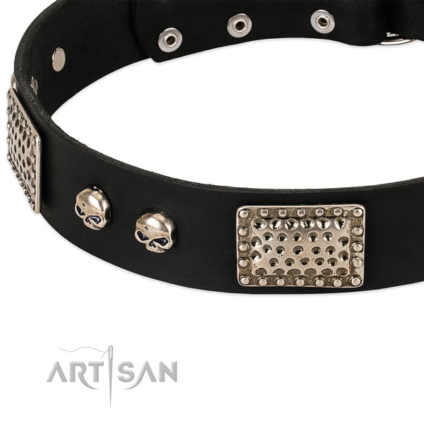 Rust-proof embellishments on natural genuine leather dog collar for your pet