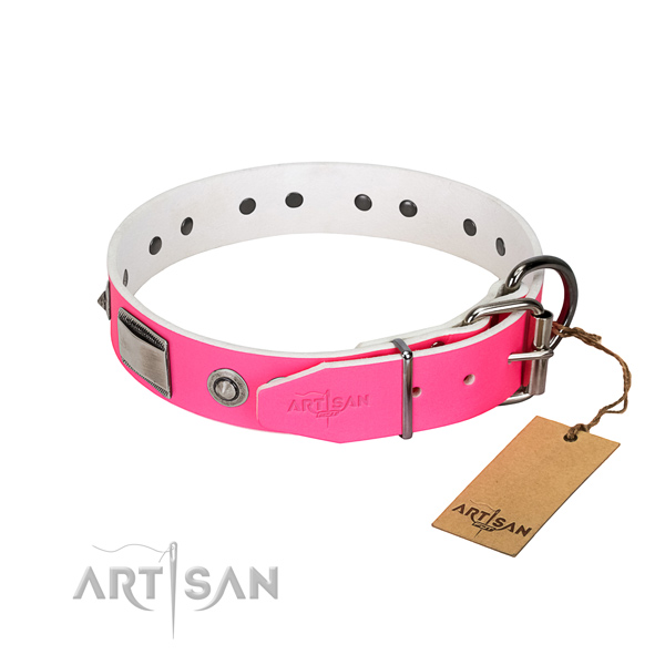 Convenient dog collar of full grain genuine leather with embellishments