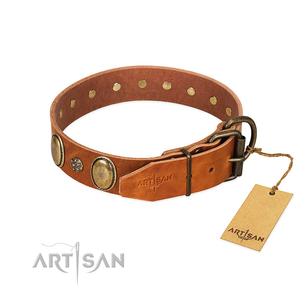Comfy wearing flexible full grain natural leather dog collar
