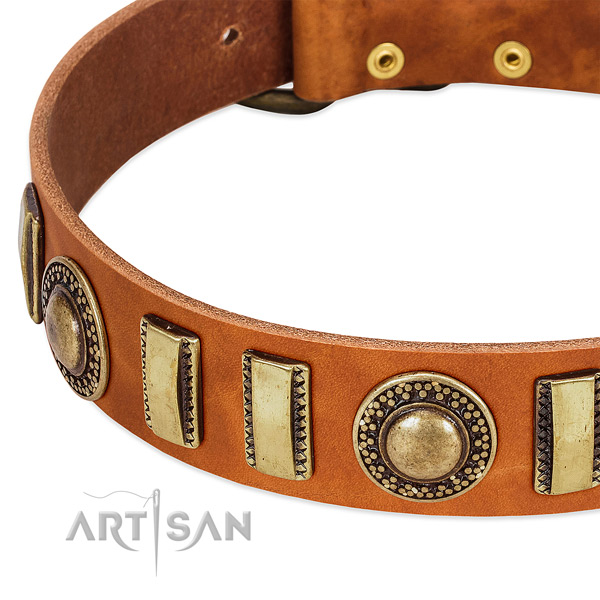 Top notch full grain genuine leather dog collar with corrosion proof D-ring