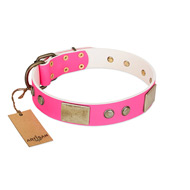 """Flower Parade"" FDT Artisan Pink Leather Amstaff Collar with Plates and Studs"