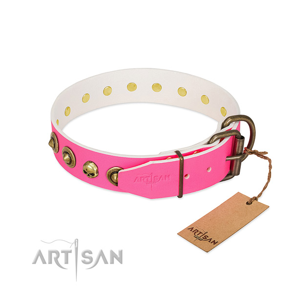 Genuine leather collar with inimitable adornments for your canine