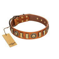 """Happy Hound"" FDT Artisan Tan Leather Amstaff Collar with Elegant Decorations"