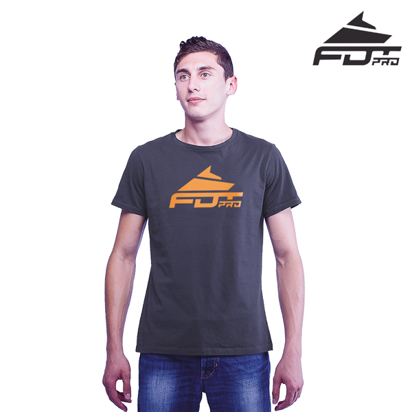 High Quality Cotton Professional Men T-shirt of Dark Grey Color