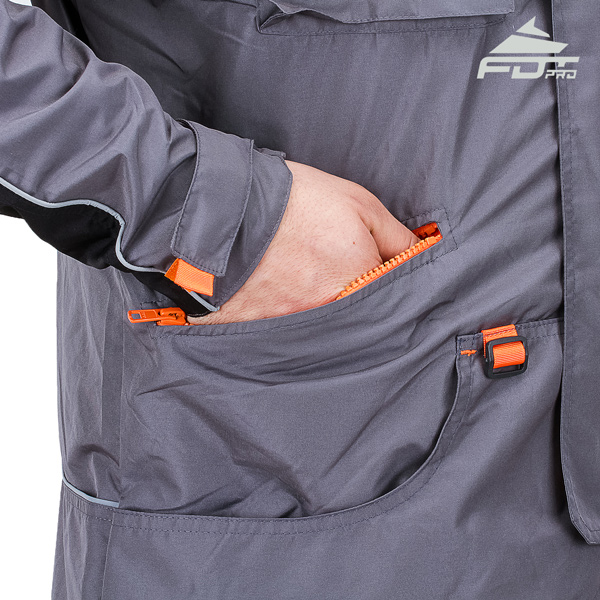 Grey Color FDT Pro Design Dog Tracking Jacket with Useful Side Pockets