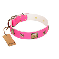 """Charm and Magic"" FDT Artisan Pink Leather Amstaff Collar with Luxurious Decorations"