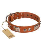 """Pawsy Glossy"" FDT Artisan Exclusive Tan Leather Amstaff Collar 1 1/2 inch (40 mm) wide"