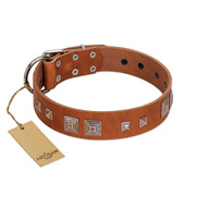 """Egyptian Gifts"" Handmade FDT Artisan Tan Leather Amstaff Collar with Chrome-plated Pyramids"