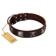 """Nut-Brown Finery"" Embellished FDT Artisan Brown Leather Amstaff Collar with Chrome Plated Crossbones and Plates"