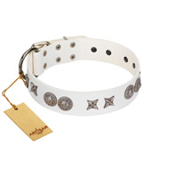 """Seventh Heavens"" FDT Artisan White Leather Amstaff Collar with Chrome-plated Stars and Engraved Brooches"