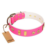 """Prim'N'Proper"" Handmade FDT Artisan Pink Leather Amstaff Collar with Old Bronze-like Dotted Studs and Tiles"