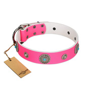 """Chili Mood"" Designer Handmade FDT Artisan Pink Leather Amstaff Collar"