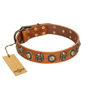 """Golden Epoch"" FDT Artisan Tan Leather Amstaff Collar with Old Bronze-plated Medallions and Conchos"