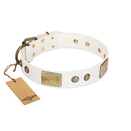 """Pure Elegance "" FDT Artisan White Decorated Leather Amstaff Collar - 1 1/2 inch (40 mm) wide"