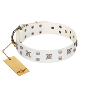 """Star Patrol"" FDT Artisan White Leather Amstaff Collar Adorned with Stars and Studs"