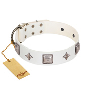 """Vanilla Ice"" FDT Artisan Handmade White Leather Amstaff Collar with Silver-like Adornments"