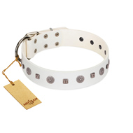 """Drops on Snow"" Handmade FDT Artisan White Leather Amstaff Collar Adorned with Silver-Like Studs"