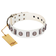 """Icy Spike"" Designer FDT Artisan White Leather Amstaff Collar with Silver-Like Decorations"