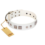 """Pure Quadratic"" Designer Handmade FDT Artisan White Leather Amstaff Collar"