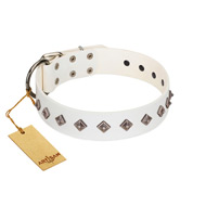 """Snowy Day"" Stylish FDT Artisan White Leather Amstaff Collar with Small Dotted Pyramids"