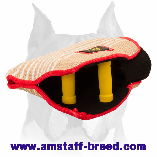 Young dog bite builder sleeve with comfy handles for training Amstaff