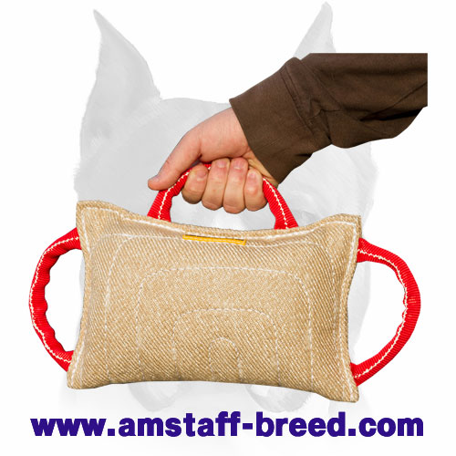 amstaff jute dog bite pillow with 3 solid handles te7 1011 jute